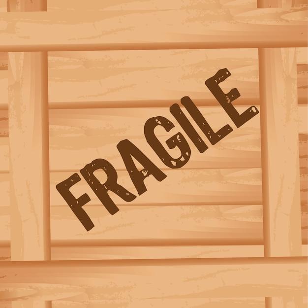 壊れやすいテキストの前面位置を持つ木箱