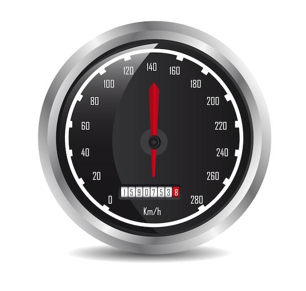 白の背景ベクトル上の影と車の速度計