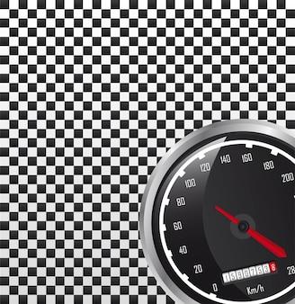 車の速度計のコピーベクトルのイラストのためのスペース