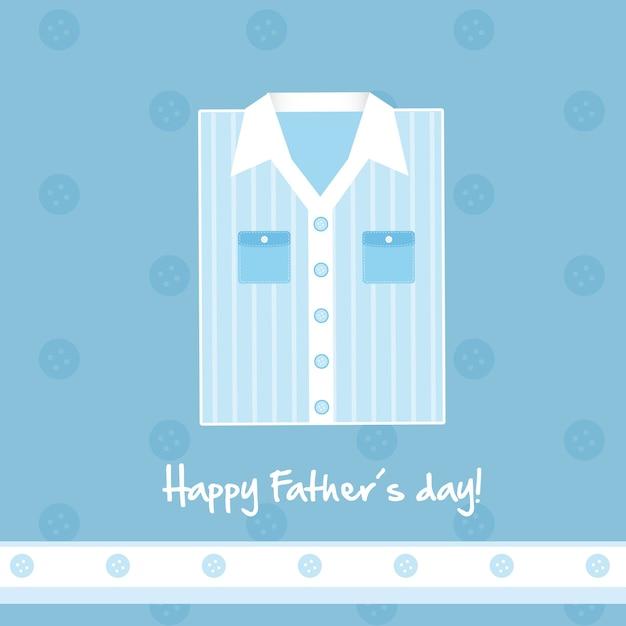 かわいい青いシャツのカード幸せな父の日のベクトル図