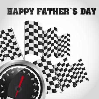 スピードレーシング、幸せな父、日、カード、ベクトル、イラスト