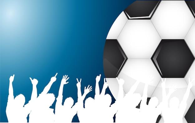 青い背景ベクトルの上にサッカーボールとシルエット
