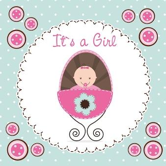 かわいいベビーシャワーカード赤ちゃんの少女のベクトル図