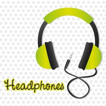 灰色の点の背景にコネクタを備えた緑色のヘッドフォン