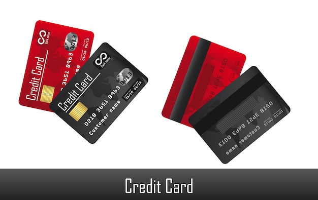 赤と黒のクレジットカード、白背景ベクトル