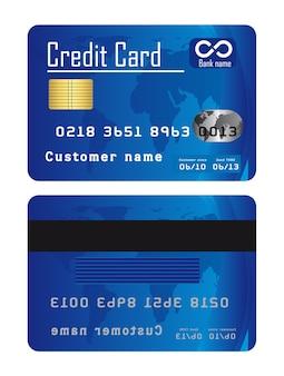 青いクレジットカードは、白背景ベクトル上に分離