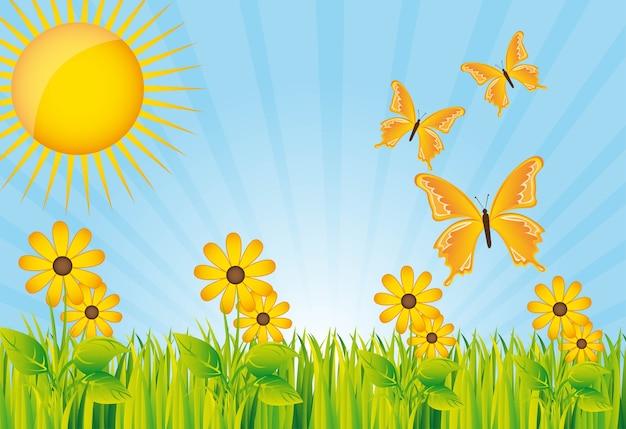 Красивый сад с желтым цветком и бабочками