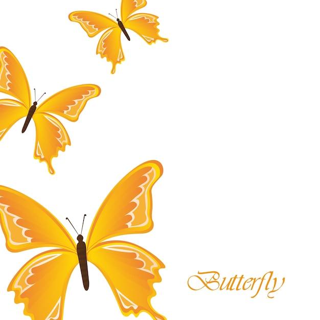 白い背景の上に黄色の蝶
