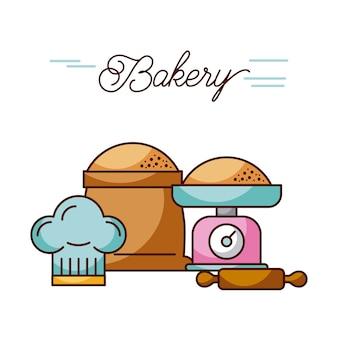 パンの重量と袋の圧延ピンと帽子のシェフ