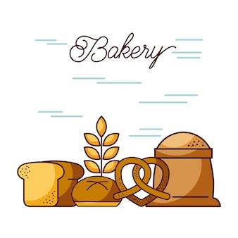 小麦粉パンの小麦のプレッツェルのベーカリーの袋