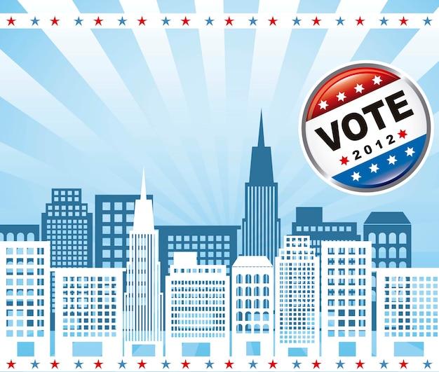 青い背景のベクトル上の建物との国家選挙投票