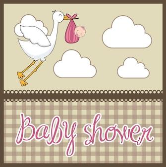 赤ん坊のベビーシャワーカード、赤ちゃんとイラスト