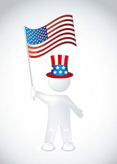 帽子とアメリカの国旗、国旗、ベクトル、イラスト