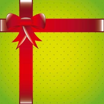 Зеленый подарок остроумие красный бант с пространством для копирования векторной иллюстрации