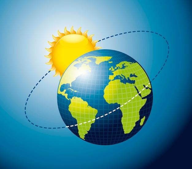 青の背景ベクトルを介して太陽の周りの地球の動き