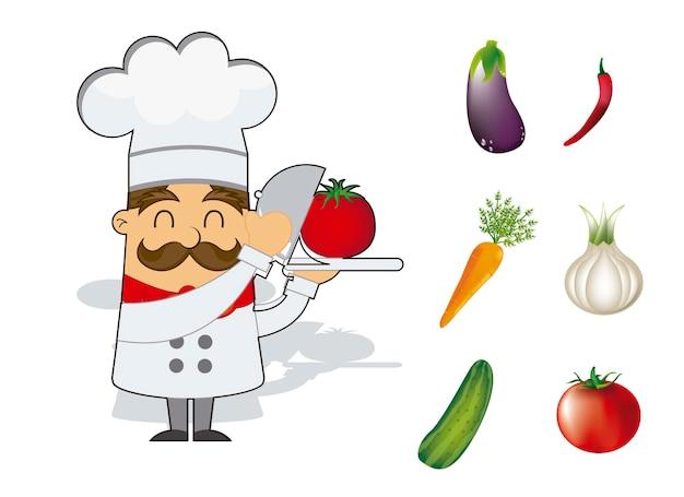 白い背景ベクトルの上に野菜と漫画シェフ