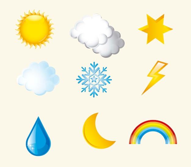 ベージュの背景ベクトル図上の天気アイコン