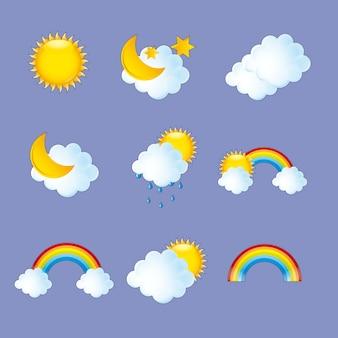 紫色の背景の上に天気アイコンベクトル図