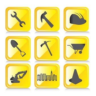 Желтый дизайн иконки с тенью на белом фоне вектор