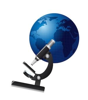 白い背景のベクトル図を介して惑星上の顕微鏡