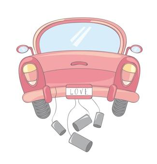 白い背景ベクトルのイラストを介してピンクの車の漫画