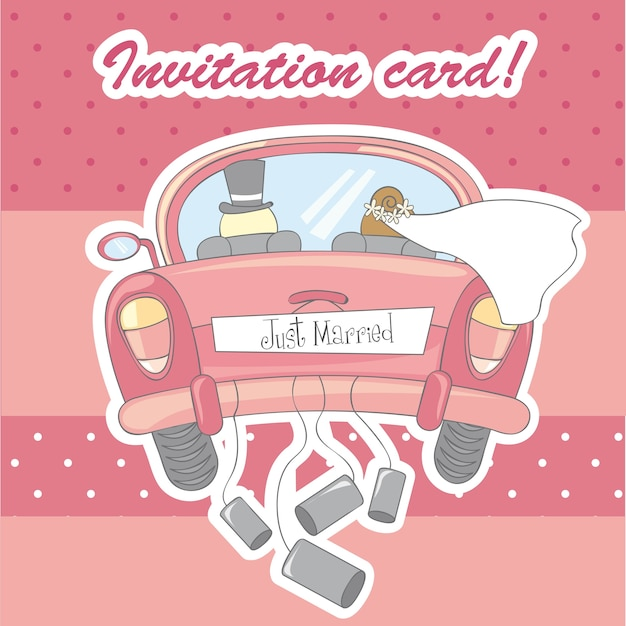 ピンクの背景ベクトルの上に結婚のための招待状