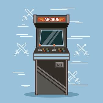 古典的なアーケードゲーム機のレンダリング