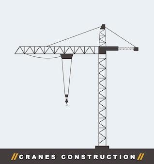 Силуэт строительство кран башня фон векторные иллюстрации