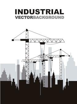 Силуэт строительный кран со зданиями векторной иллюстрации