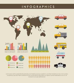 Набор старинных инфографика с векторной иллюстрацией карты