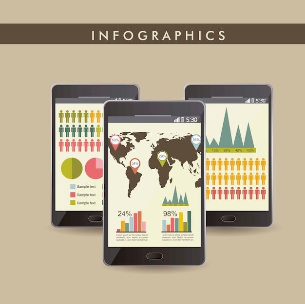 Старинные инфографика набор с телефонами векторной иллюстрации