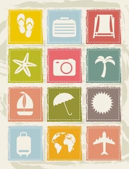 Старинные каникулы иконки над гранж фон вектор