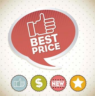 ヴィンテージ背景ベクトル上の標識で最高の価格ラベル