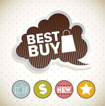 ヴィンテージ背景ベクトル上の標識で最高の買い物のラベル