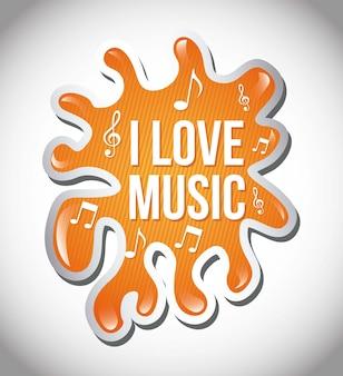 Любовная музыка иллюстрация над всплеск фон вектор