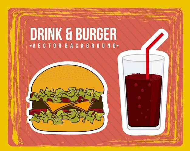 グランジ背景ベクトル上のハンバーガー発表