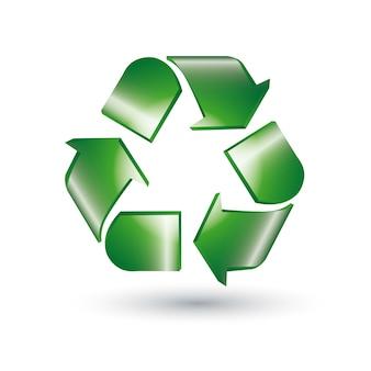 緑、リサイクル、サイン、白、背景。ベクター