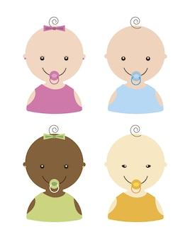 赤ちゃん、白、背景、ベクトル、イラスト