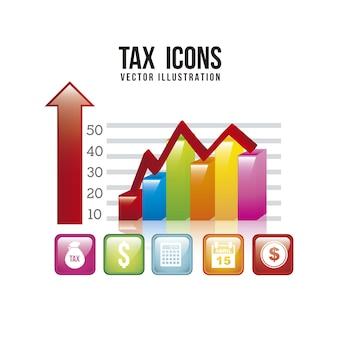 白い背景ベクトル上にグラフィックバーと税のイラスト