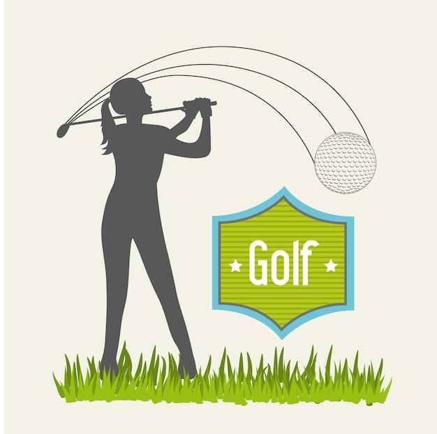 ベージュの背景のゴルフのベクトル図の上の女性のゴルファー
