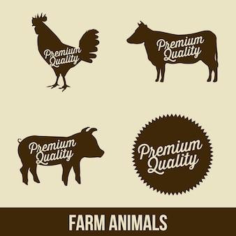 ベージュの背景ベクトルのイラストの農場動物
