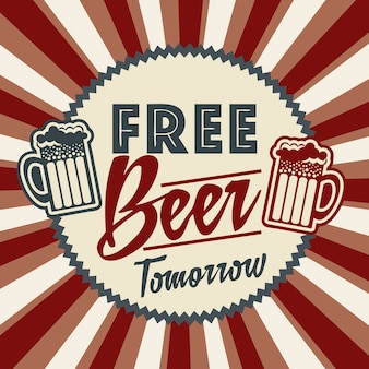 Бесплатное пиво завтра иллюстрация старинные стиль векторные иллюстрации