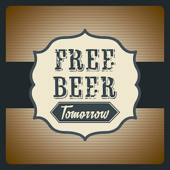 無料のビール明日イラストビンテージスタイルのベクトル図