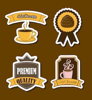 Шоколадные этикетки на коричневом фоне векторные иллюстрации