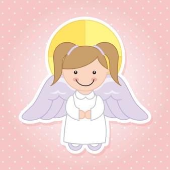 ピンクの背景ベクトル図上の天使の漫画