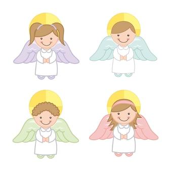 白い背景ベクトルイラスト以上の天使の漫画