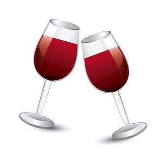 ワイン、カップ、白、背景、ベクトル、イラスト