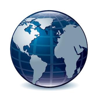 地球のアイコンを上に白い背景ベクトル図