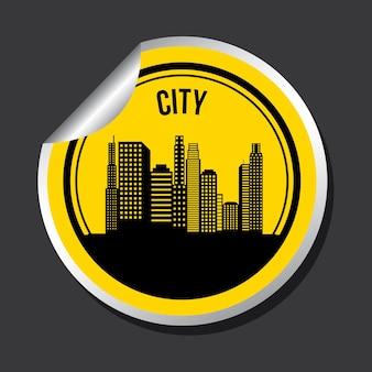 Дизайн города на черном фоне векторной иллюстрации