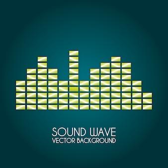青い背景のベクトル図上の音波のデザイン